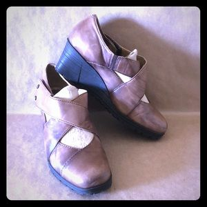 EARTH SPINDRIFT Brown Leather Wedge Shoe SZ 8.5
